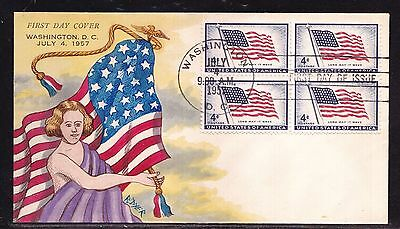 Scott 1094 Flag Ralph Dyer Hand Painted First Day Cover Fdc