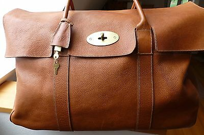 Auth. Mulberry Piccadilly Bayswater  Holdall Travel Bag °Made in England° Oak