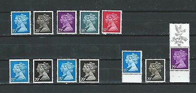 1990 MACHIN DOUBLE HEAD DECIMAL COLLATION OF 12 STAMPS INCLUDING MNH SET TO 37p