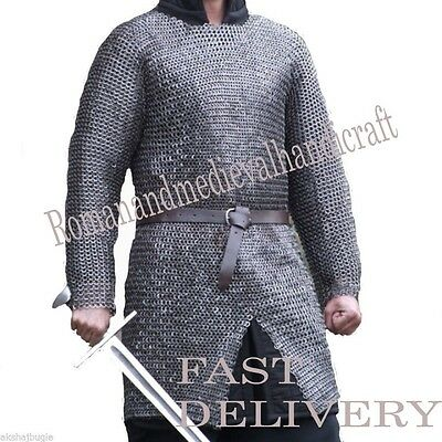 10Mm Chainmail Hauberk Shirt-Large Flat Riveted With Washer Oiled Medieval