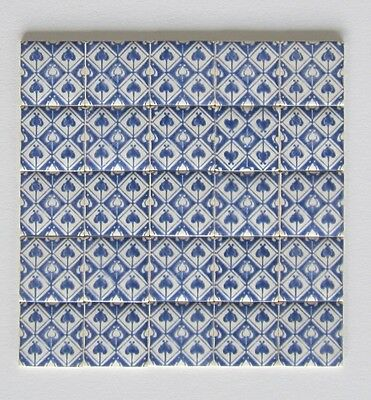 10 HEART blue & white patterned miniature ceramic tiles by TERRY CURRAN