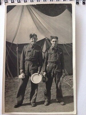 Vintage Postcard WW2 Soldier Group Of Two Portrait WWll Camp