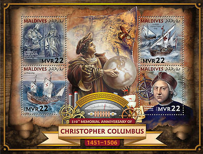MALDIVES 2016 ** Christopher Columbus Sailing Ships Segelschiffe M/S #705a