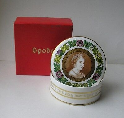 "Spode  QUEEN MOTHER   80th Birthday (1980)  Round Box  4"" (Limited Ed. 2000)"