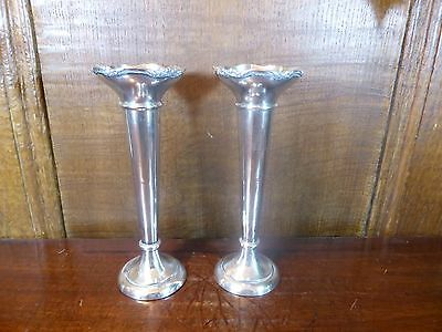 """ANTIQUE PAIR hallmarked solid SILVER VASES - 15cms/5 7/8"""" - 1914"""