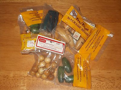 NIP Lot 8 Vintage Packages Of Macrame Wood Beads Count Of 50 Beads