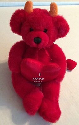 "Russ Devil Bear with Heart That Says ""I Love You"" Named Dante"