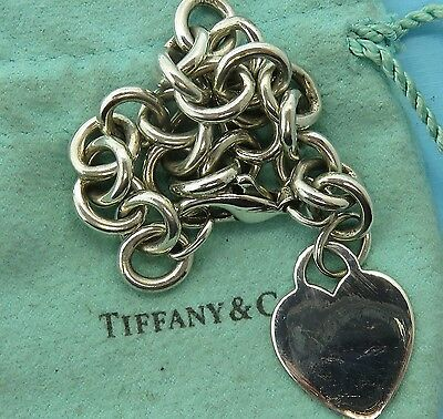 Vintage sterling silver HEAVY TIFFANY & CO. HEART CHARM TAG bracelet FOR CHARMS