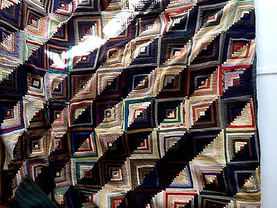 "Vintage Antique log cabin rustic quilt 69 x 77 "" as is"