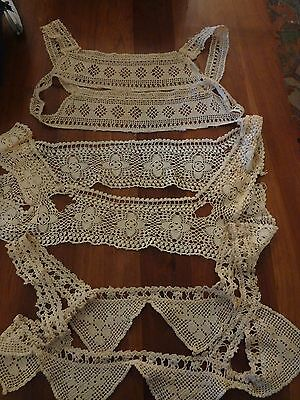 Vintage Antique Edwardian crochet lace cami camisole night lingerie lot as is