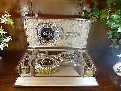 Hallmarked Silver & Pique Faux Shell Dressing Table Set - Inlaid Wooden Box 1919