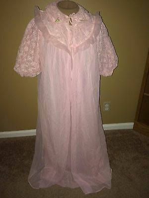 Vtg Retro GMC Peignoir Set Long Full Nightgown with Matching Robe Pink Lace Sz S