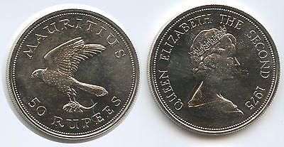 G2109 - Mauritius 50 Rupees 1975 KM#41 Silver Mauritius Kestrel Conservation