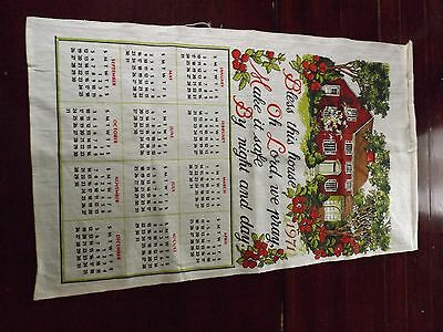 Vtg 1971 Calendar Tea Dish Towel Bless this house Wall decor Hanging