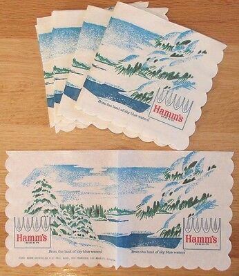 VINTAGE LOT of 20 HAMM'S BEER LAND of SKY BLUE WATERS COCKTAIL SIZE NAPKINS NOS