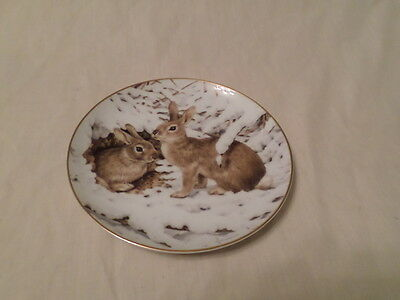 """The Forest Year """"rabbits In The January Snow"""" Porcelain Plate"""