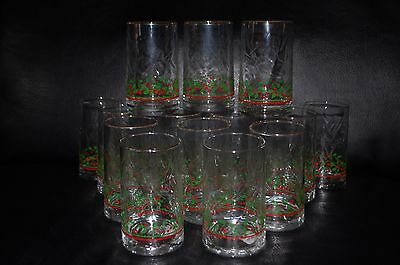 Arby's Libbey Holly & Berry Swirl Glasses  Holiday Christmas 17 Available