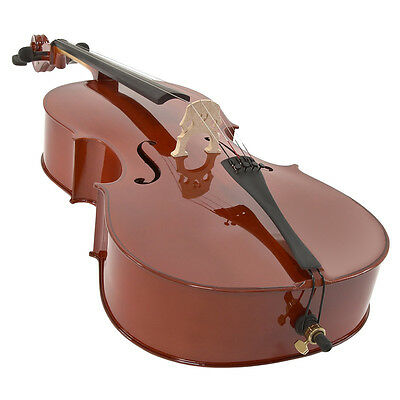 New Student 4/4 Size Cello with wheeled Case , Bow and Rosin from DLM Music