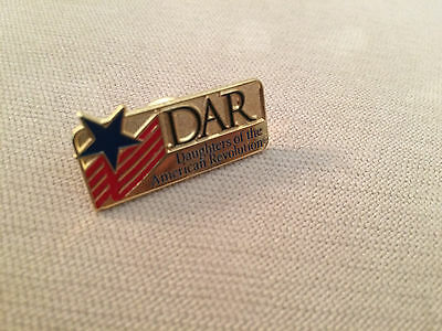 DAR Daughters of the American Revolution Logo Flag Star Pin Red Blue & Gold