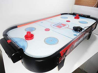 """Mini Wood Table Top Air Hockey Set Game Fun Electric Operated Fan With Legs 32"""""""