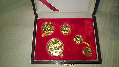 1990 China Gold Panda Set 1.9 Oz Gold, 5 coins, PP/Proof, RARE!!!