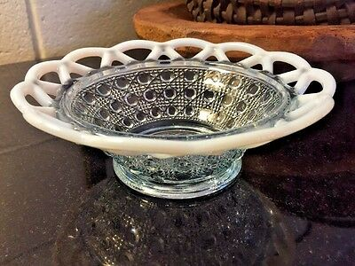 """Imperial Glass Blue Opalescent Lace Edged Sugar Cane 6"""" Belled Bowl, circa 1935"""