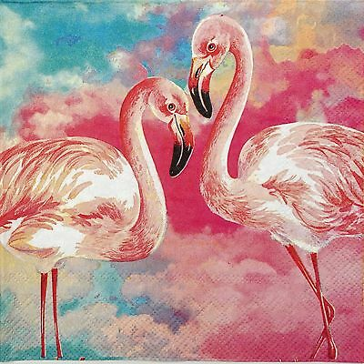 4x Paper Napkins - Flamingos Pink- for Party, Decoupage