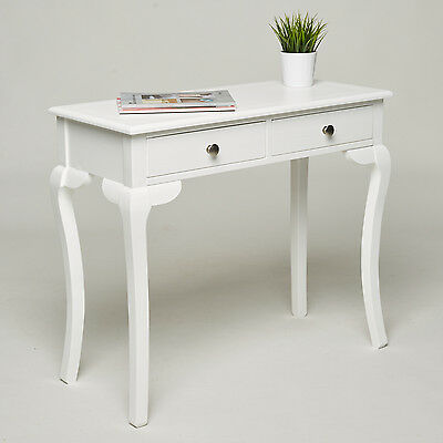 Console Dressing Table - 2 Drawers - White Country Sideboard Hall Hallway Desk