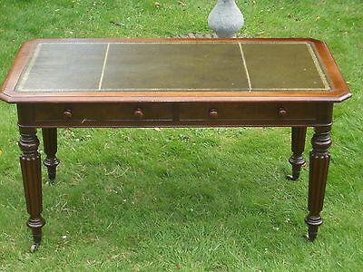 Regency Mahogany Reeded Leg Leather Topped Writing Table