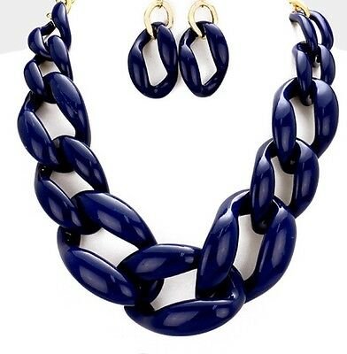 Acrylic Navy Blue Big Curb Link Chain Chunky Statement Necklace Set Earring