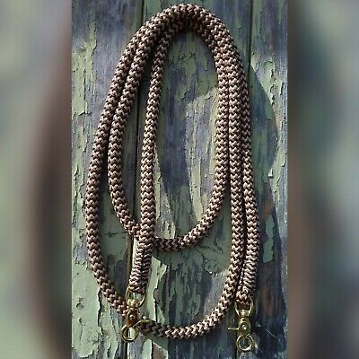 Clip On Rope Reins in Brown & Beige Zig Zag - Your choice of length & clip