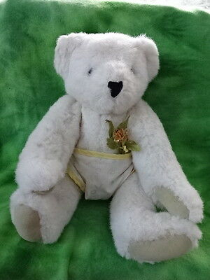 White VERMONT TEDDY BEAR:  Baby w/ Diaper from 1993. Never Played With.