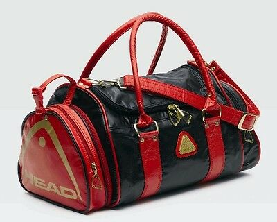 HEAD St Tropez Black/Red/Gold Faux Leather PU holdall