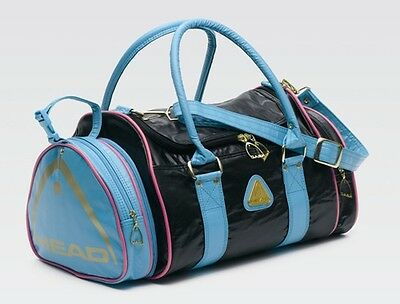 HEAD St Tropez Black/Electric Blue Faux Leather PU holdall