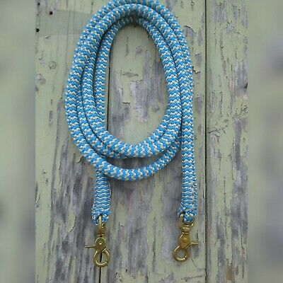Clip On Rope Reins in Blue & Beige Zig Zag - Your choice of length & clip