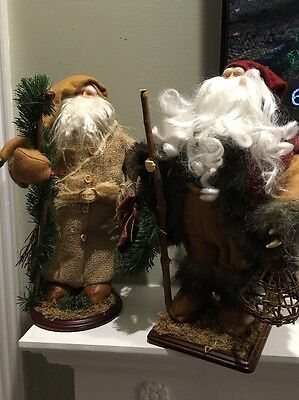 """Pair of Rustic Primitive Country Style SANTA CLAUS Figurines Wood Bases 15"""""""