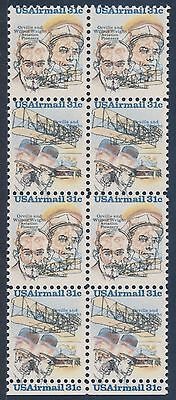 "#c91-C92 Var. ""wright Bros."" Block Of 8 Major Color Shift C.o.d. Error Bt5492"