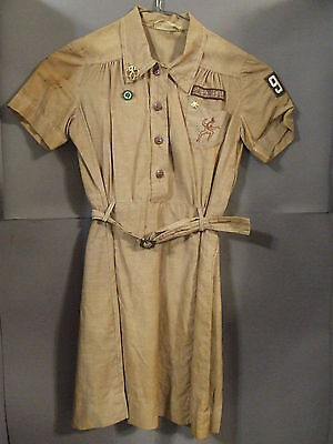Vintage Official Brownie Girl Scout Uniform Dress Size 7 With Belt Troop 97