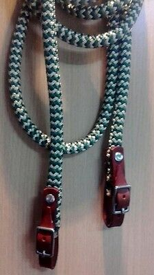 Brown Leather Brass Buckled End Reins in Green & Beige Zig Zag  choice of length