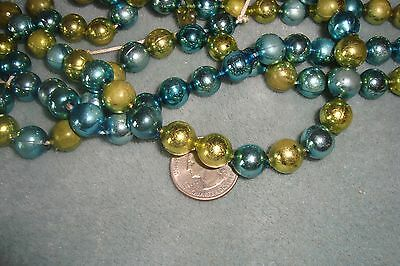 Vintage Christmas Mercury Glass Bead Garland Green or Gold and Blue  10'