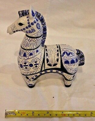 Beautiful Wagner Horse Blue and White Ceramic Art Pottery