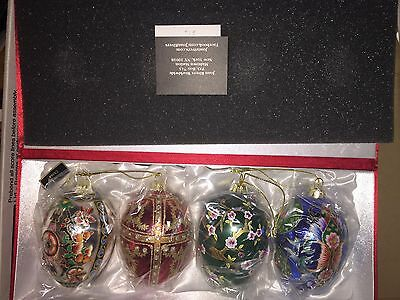 Joan Rivers 2015 Set of 4 Russian Inspired Egg Ornaments NEW
