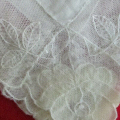ELABORATE VTG Antique Needle Run Embroidery Net Lace Handkerchief Hankie~Bridal