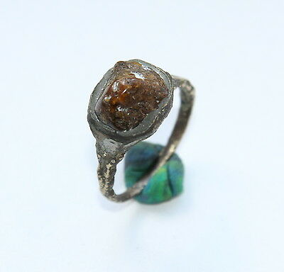 Ancient Medieval Bronze Finger Ring With Amber Inlay (NOW01)