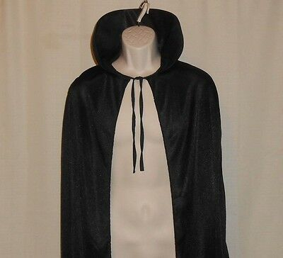 COSTUME CAPE Adult ONE SIZE Fits Most Men Women Open Front Black Vampire