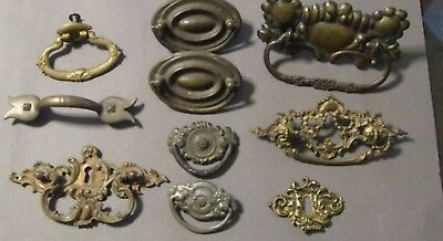 Lot Of 10 Antique Vintage Drawer Pulls Brass Metal (Sd3  40)