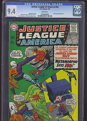JUSTICE LEAGUE OF AMERICA #42 CGC NM 9.4; White Pg!; Metamorpho!