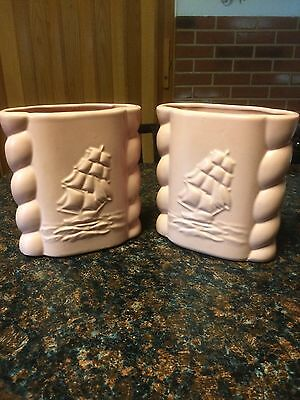 vintage abingdon Pair of planters with embossed ship 7 Inches Tall