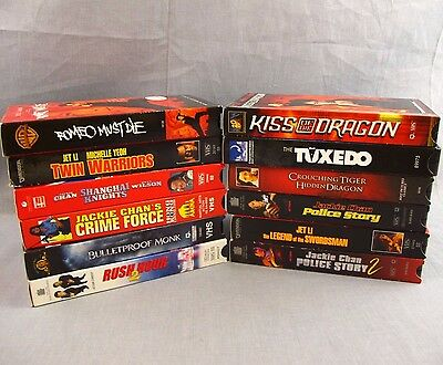 Lot of 12 Martial Arts Movies VHS Video Collection Kung-Fu Jackie Chan Jet Li