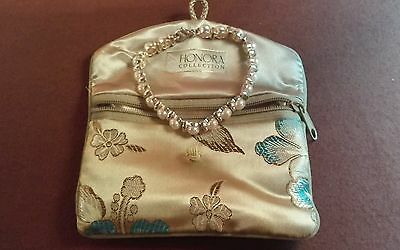 HONORA COLLECTION Sterling & White Pearl Tennis Bracelet 7L w Orig Bag PRE OWNED